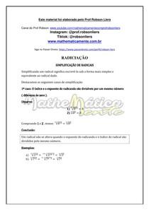 RADICIAÇÃO AULA 5 - SIMPLIFICAÇÃO DE RADICAIS - PROF ROBSON LIERS