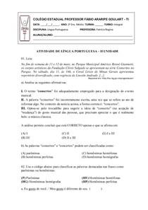 ATIVIDADE DE LÍNGUA PORTUGUESA   ORTOGRAFIA UNIDADE II   INTEGRAL 2