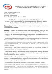 O INDIVIDUALISMO - Dumont