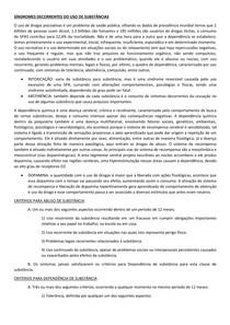 SÍNDROMES DECORRENTES DO USO DE SUBSTÂNCIAS
