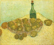 Vincent Willem van Gogh-ainda-vida-Garrafa-limões-e-Oranges