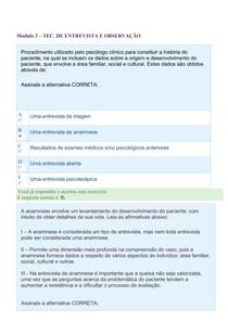 PSICOLOGIA -  QUESTÕES E RESPOSTAS Modulo 3   TEO