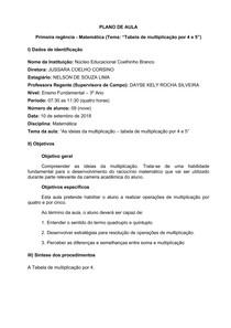 Plano de Aula - Matemática - 3 Ano EF - Tabela multiplicação por 4 e 5