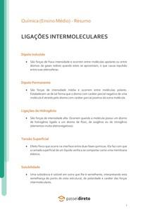 Ligações intermoleculares - Resumo