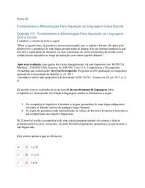 Fundamentos e Metodologias Para Aquisicao da Linguagem Oral e Escrita