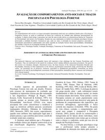 AVALIAÇÃO DE COMPORTAMENTOS ANTISOCIAIS E TRAÇOS DE PSICOPATAS EM PSICOLOGIA FORENSE