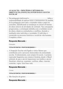 AVALIAÇÃO   Principios e métodos da orientação, inspeção, supervisão e gestao escolar