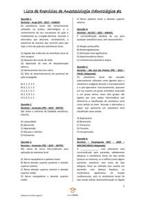 Lista de Exercícios de Anestesiologia Odontológica #1 - Odontologia Para Concursos