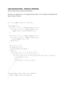 Exercícios Resolvidos - Vetores e Matrizes (Linguagem Processing)