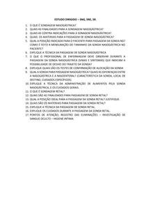 ESTUDO DIRIGIDO COM RESPOSTAS - Sondagem Nasogástrica e Nasoenteral