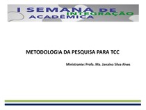 METODOLOGIA DA PESQUISA PARA TCC