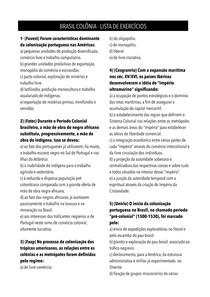 História do Brasil - Brasil Colônia - Lista de Exercícios (com gabarito)