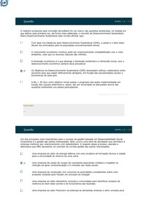 SIMULADO 2 - RESPONSABILIDADE SOCIAL E SUSTENTABILIDADE