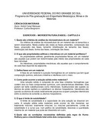 Lista de Exercícios de Ciência dos Materiais #4