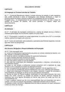 Regimento Interno Modelo Administração De Recursos Humanos I