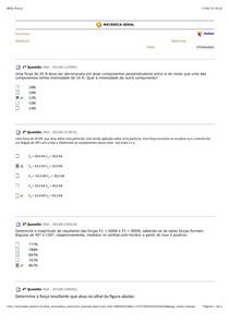 Mecânica Geral Avaliando Aprendizado 1-5