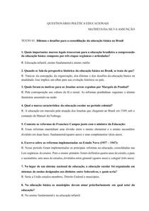 QUESTIONÁRIO POLÍTICAS EDUCACIONAIS