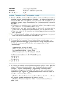 Língua Inglesa II- Avaliação I