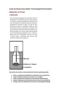 Lista de Exercícios de Física do Enem Sobre Termologia/Termometria - Parte 3