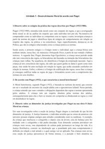 Atividade 3 - Desenvolvimento Moral de acordo com Piaget