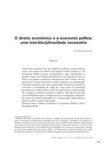 O Direito Econômico e a Economia Politica