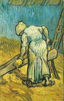 Vincent Willem van Gogh-Camponesa-Mulher-corte-palha-After-Millet