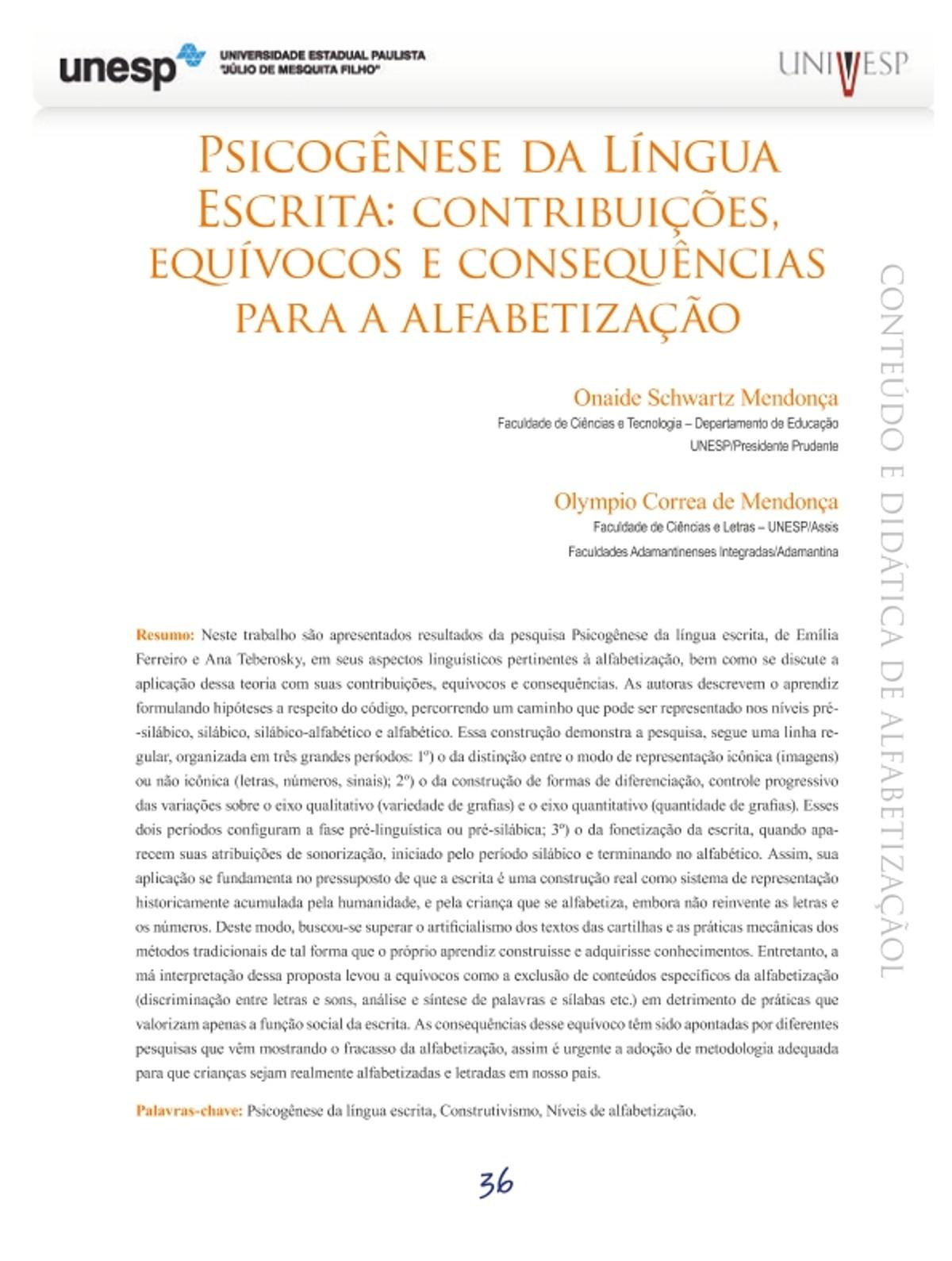 Pre-visualização do material PSICOGENESE DA LINGUA ESCRITA - página 1