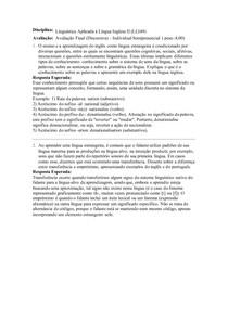 Linguistica Aplicada a Língua Inglesa- Avaliação Final (Discursiva) - Individual