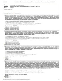 UNIASSELVI - Administração da Produção (ADM64) OJETIVA FINAL