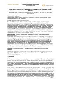 PRINCÍPIOS CONSTITUCIONAIS ESTRUTURANTES DA ADMINISTRAÇÃO