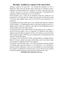 Resumo: Ayahuasca, expansão da consciência