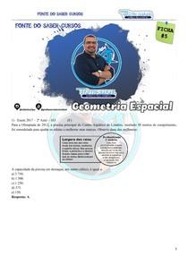 FICHA 5 DE QUESTÕES - ÁREAS E VOLUMES DE FIGURAS ESPACIAIS