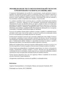 POSSIBILIDADE DE TRATAMENTO FISIOTERAPÊUTICO COM CINESIOTERAPIA NAS DOENÇAS CEREBELARES