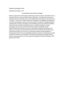A contribuição de Wilhelm Wundt para a Psicologia