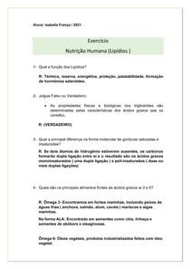 Atividade- Nutrição humana ( lipídeos)