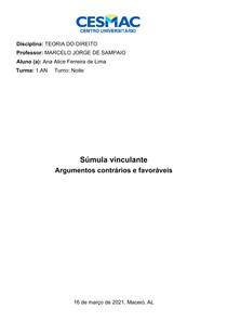 Súmulas Vinculantes - Argumentos Contrários e Favoráveis - Teoria do Direito - Cesmac 2021.1