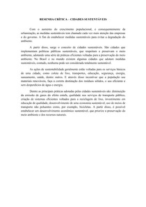 RESENHA CRÍTICA CIDADES SUSTENTÁVEIS