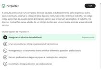 Avaliação On-Line 2 (AOL 2)- Questionário de Ética e Cidadania