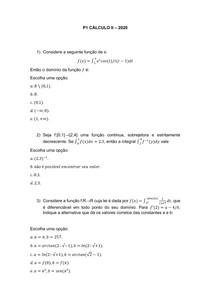 Prova 1 - cálculo II