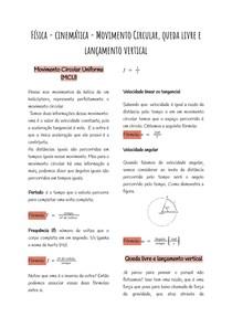 Física - cinemática - Movimento Circular, queda livre e lançamento vertical