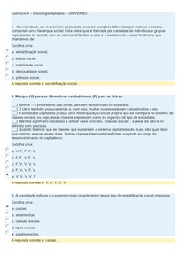 Exercício 4   Sociologia Aplicada - UNIVERSO