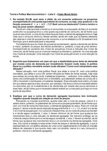 Teoria e Política Macroeconômica I Lista de Exercícios 5 Felipe Moreti Bolini