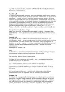 Apol 2 - Administração, Sistemas e Ambiente & Introdução à Teoria Geral da Administração: