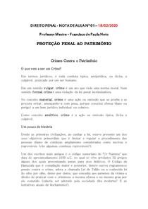 NOTA 01 PROTEÇÃO PENAL AO PATRIMÔNIO