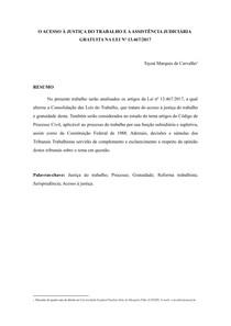 O ACESSO À JUSTIÇA DO TRABALHO E A ASSISTÊNCIA JUDICIÁRIA GRATUITA NA LEI Nº 13.467/2017