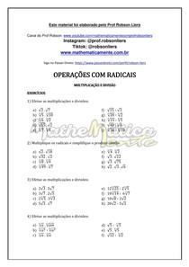RADICIAÇÃO AULA 10 - EXERCÍCIOS - PROF ROBSON LIERS