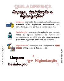 RDC 216/04 - LIMPEZA X DESINFECÇÃO X HIGIENIZAÇÃO