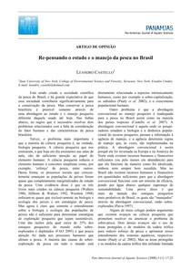 re pensando o estudo e o manejo da pesca no Brasil