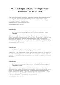 AV1 – Avaliação Virtual 1 -  Serviço Social - Filosofia - 2018 - UNOPAR