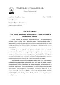 """Resumo artigo """"Escala Wechsler de Inteligência para Crianças (WISC): análise da produção de artigos científicos brasileiros"""
